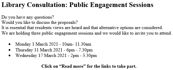 Library Consultation: Public Engagement Sessions